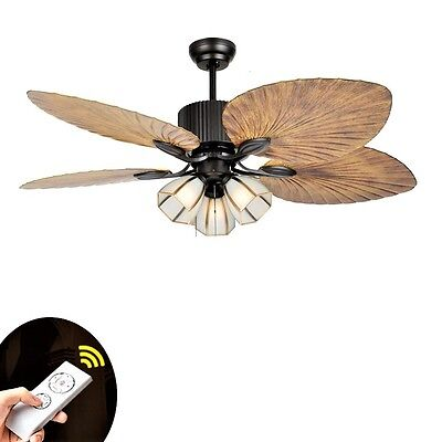 European Style Leaf Blade Living Room Restaurant LED Light Ceiling Fan w/ Remote