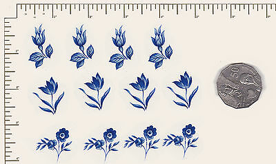 """12 x Waterslide ceramic decals Flowers Floral Blue. 3 different 3/4"""" - 1""""  PD05"""
