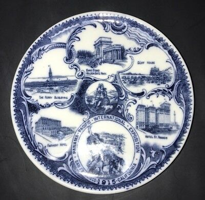 Panama Pacific International Exposition San Francisco 1915 Plate Flow Blue