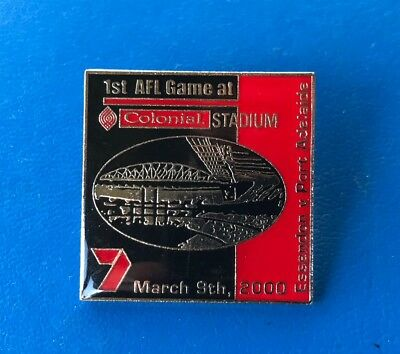 2000 badge Pin Essendon Bombers 1st Game at Colonial Stadium v Port VFL AFL