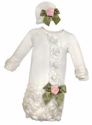 Baby Gown And Cap Set-Special Occasion-Cream w/Pink Rose (0-3 Mo)