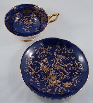 Coalport Cobalt Blue Heavy Gold Decorated Peacock and Butterfly Teacup & Saucer
