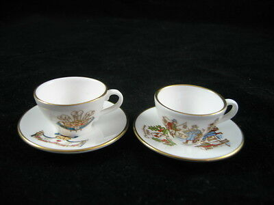 2 Miniature Christmas English Cups & Saucers