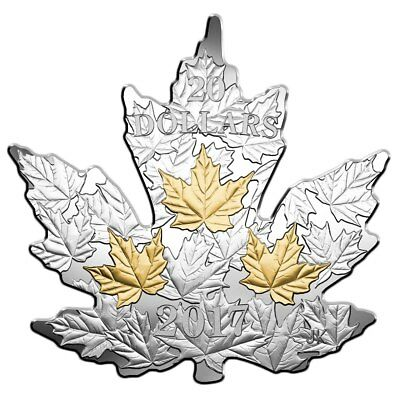 2017 $20 Fine Silver Coin Gilded Silver Maple Leaf - Maple Leaf Shaped Coin