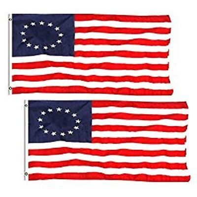 2 Pack 3x5 ft. 100% Polyester Sharp and Vivid Color Outdoor USA Betsy Ross Flag