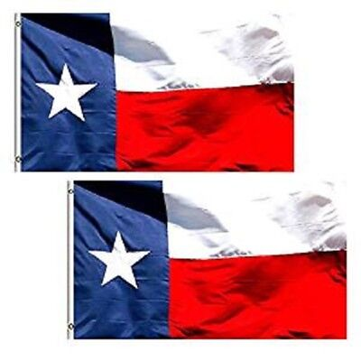 2 Pack 3x5 ft. 100% Polyester Sharp and Vivid Color Outdoor USA Texas Flag