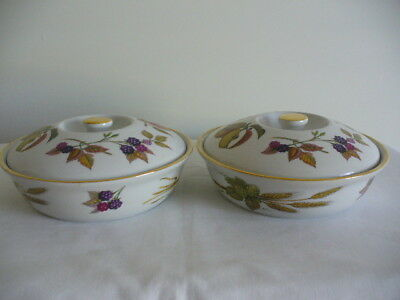 Pair od Lidded Royal Worcester Serving Dishes Eversham Made In England Exc Cond
