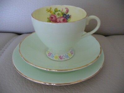 Vintage Foley Trio Cup Saucer Plate English Bone China Pastel & Floral Exc Cond