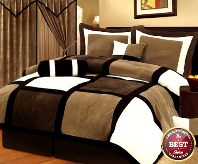 Chezmoi Collection Micro Suede Patchwork 7-Piece Comforter Set, King, Black/Bro
