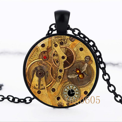 Steampunk Gears photo Glass Dome black Chain Pendant Necklace wholesale