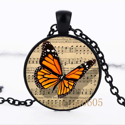 Music and Butterfly photo Glass Dome black Chain Pendant Necklace wholesale