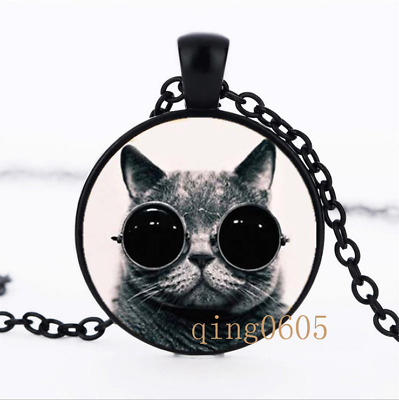 Steampunk Cat photo Glass Dome black Chain Pendant Necklace wholesale