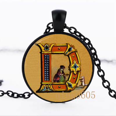 Letter D Victorian Alphabet Glass Dome black Chain Pendant Necklace wholesale