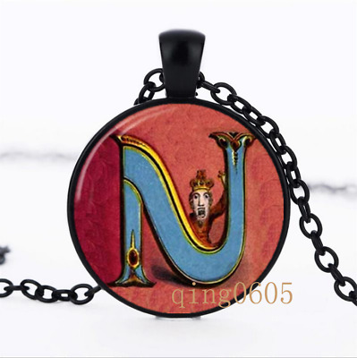 Letter N Victorian Alphabet Glass Dome black Chain Pendant Necklace wholesale
