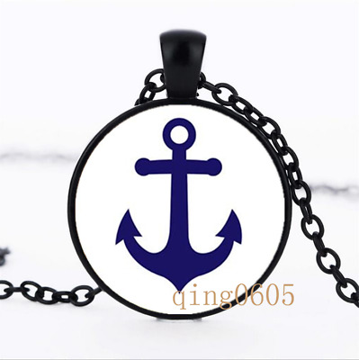 Anchor Nautical Bue and White Glass Dome black Chain Pendant Necklace wholesale