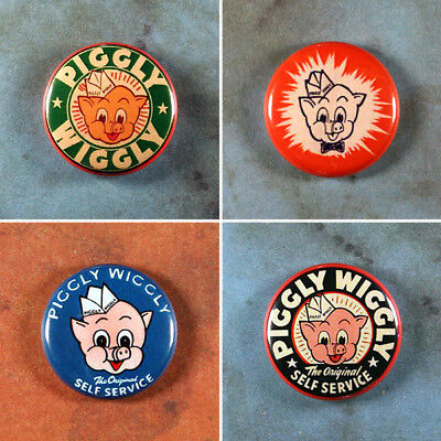 "Set of 4 Piggly Wiggly Pinback Buttons 1"" Vintage Style Advertising Art Mascot"