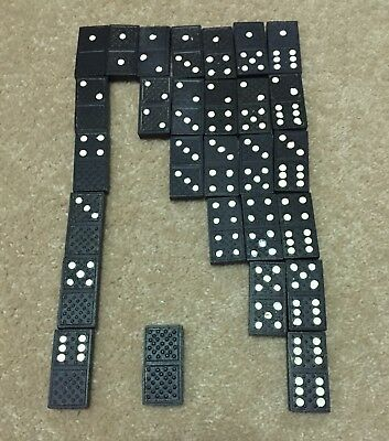 Retro Vintage Black & White Dominoes set - Complete with 28 pieces