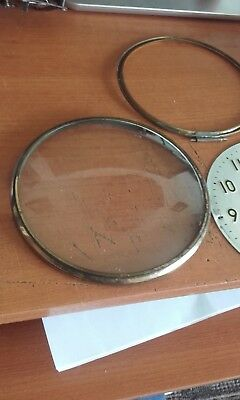 antique mantle clock convex bezel glass +rim+face120mm