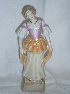 "25 Cm ( 10"") Antique Lustre Ware German Porcelain Lady Figurine Ornament  5119"