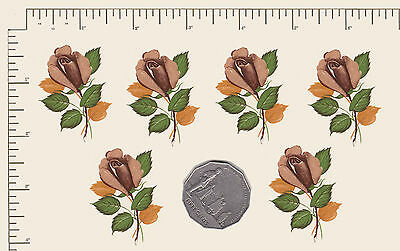 """6 x Waterslide ceramic decals Bronze roses Floral Flowers 2"""" x 1 1/4"""" PD950"""