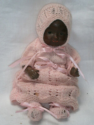 "ANTIQUE 11"" (28cm) BLACK PORCELAIN ARMAND MARSEILLE 351 BABY DOLL A/F w  OUTFIT"