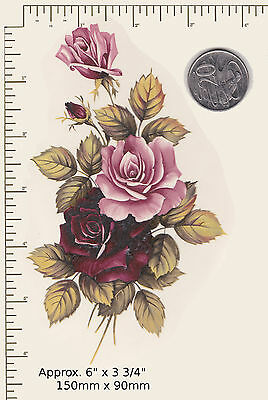 1 x Pink and burgundy roses Spray Flowers Waterslide ceramic decal. PD27a