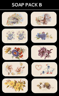 SOAP PACK 'B' Ceramic decals Decoupage Assorted designs to fit soaps Gift making