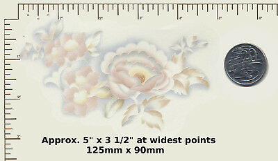 """1 Ceramic decal Decoupage Pastel Blue, Pink and Yellow Floral 5"""" x 3 1/2""""  R19"""