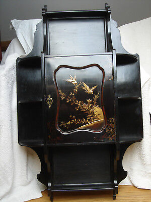 19th cent Chinese laquer wall cabinet