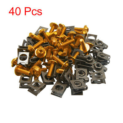40pcs M6 U-Type Rivets Motorcycle Fasteners Clips w Gold Tone Bolts Screws