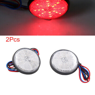 2pcs Red LED Round Motorcycle Reflector Rear Tail Brake Stop Turn Signal Light