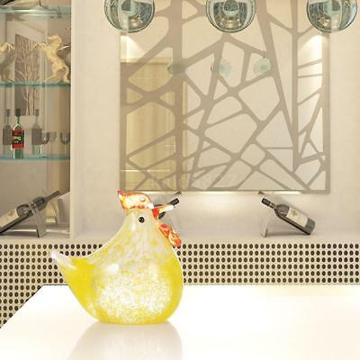 Tooarts Small Chicken Glass Sculpture Home Decor Ornament Gift Craft Animal K9Y1
