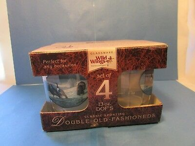 Set of 4 Round Wild Turkey Bourbon Lowball Rocks Cocktail Glasses Mint In Box