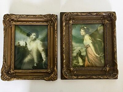 2 Antique Ornate Gesso Picture Frames Convex Glass w Old Prints