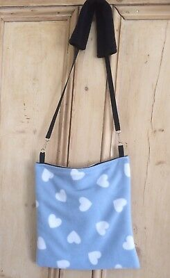 """Large Bonding Bag for small animals -Rats Etc. Removable Strap. Fleece 13"""" X 13"""""""