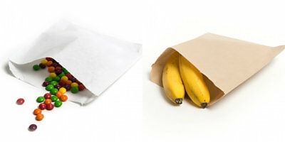 BROWN KRAFT / WHITE SULPHITE Strung Paper Bags Food/Sandwiches/Groceries Bag