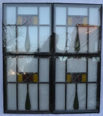 4 British leaded light stained glass window panels in doubleglazed units. R694d