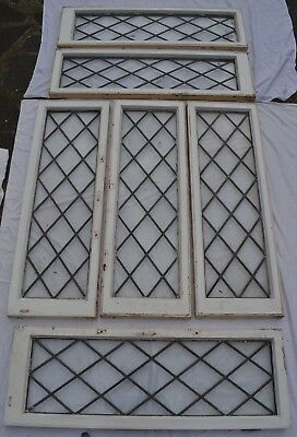 6 British plain leaded stained glass window panels. R767b. WORLDWIDE DELIVERY!!!