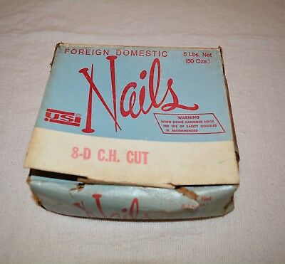 "5 Lbs VINTAGE Square Head Hardened Nails 2 1/2"" 8-D C.H. Cut Barn Siding Antique"