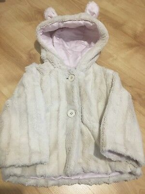 Girls Jasper Conran Cream & Pale Pink Hooded Coat Size 12-18 Months