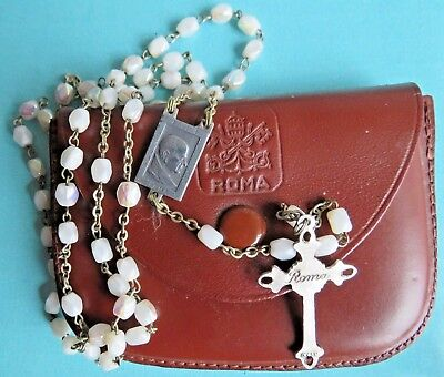 Rare Pope Paul VI Aurora Borealis Rosary in Leather Papal Seal Rosary Case