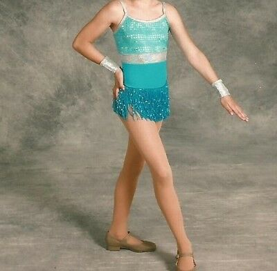 Dance Costume - Girls Medium - Turquoise & Silver One Piece