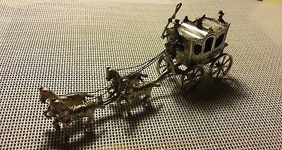 Victorian Silver Miniature Coach-and-Four With Coachman, Footman & Four Horses