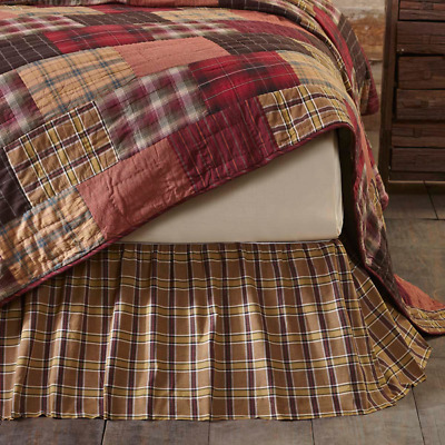 Wyatt Plaid Country Rustic Bedding Cotton Gathered Bed Skirt