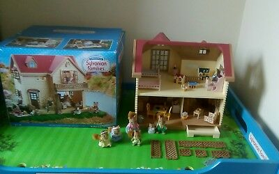 sylvanian families boxed lakeside Lodge, furnished with figures bundle