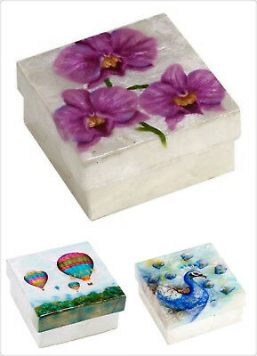 """Capiz Box Large Orchid, Peacock, Hot Air Balloon Size: 4""""X4"""""""