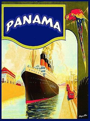 Panama Canal Central America Oceanliner Vintage Travel Art Poster Advertisement