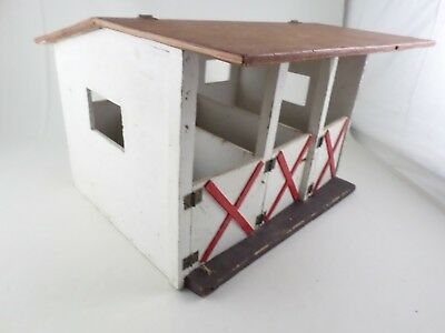 Vintage Primitive Hand Made Painted Wood Horse Stables / Barn Toy Doll House