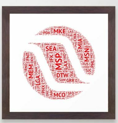 """Northwest Tail Art with Airport Codes - Framed Print (12"""" x 12"""")"""