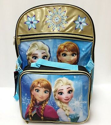 Frozen Disney Elsa Anna Girls Kids Backpack Bookbag Lunch Box SET